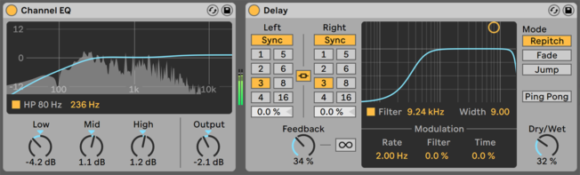 Ableton Live Channel EQ and Delay Devices