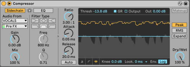 Ableton Live Compressor Sidechaining Vocals
