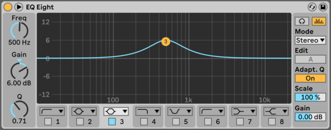 Ableton Live EQ Eight Bell Curve