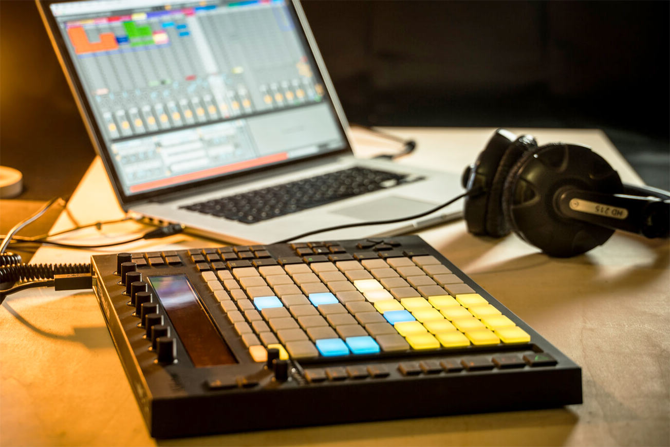 Ableton Live, Push Controller, and Headphones
