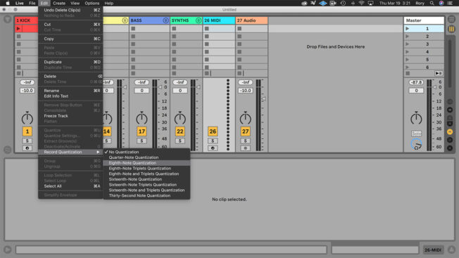 Ableton Live Record Quantization