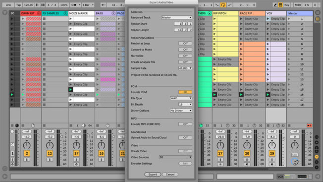 Export Audio in Ableton Live
