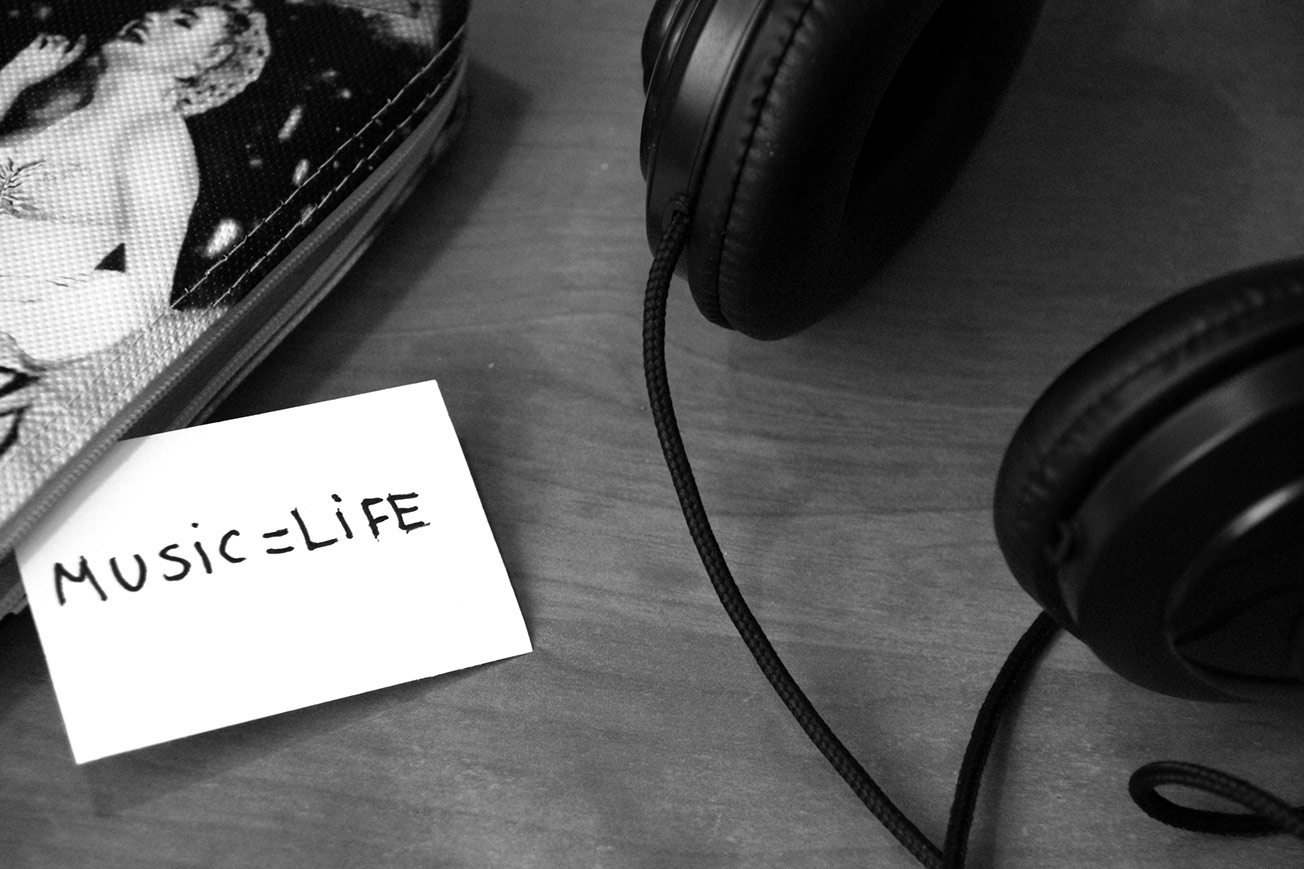Black and White Headphones Music Life - Music Production Process