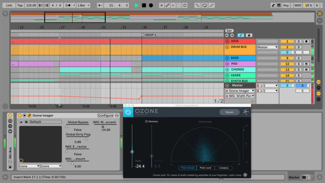 Ableton Live Mono Build with iZotope Imager