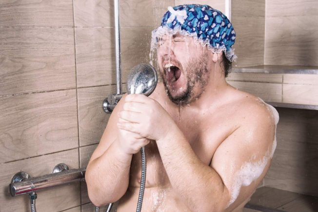 Funny Fat Man Singing in Shower