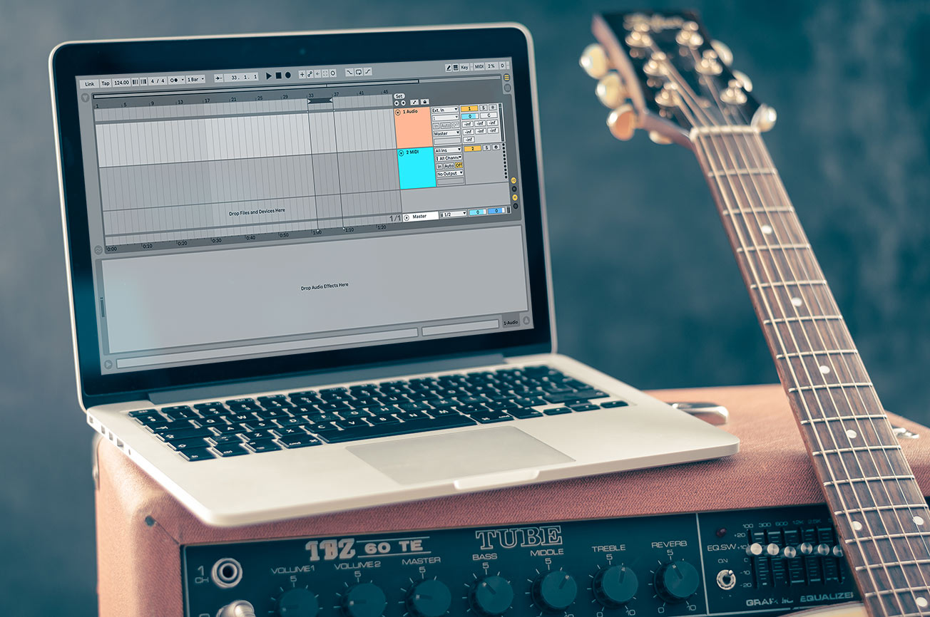 Laptop with Ableton Live on Guitar Amp