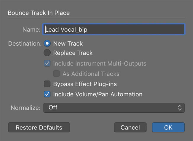 Logic Pro X Bounce Track in Place