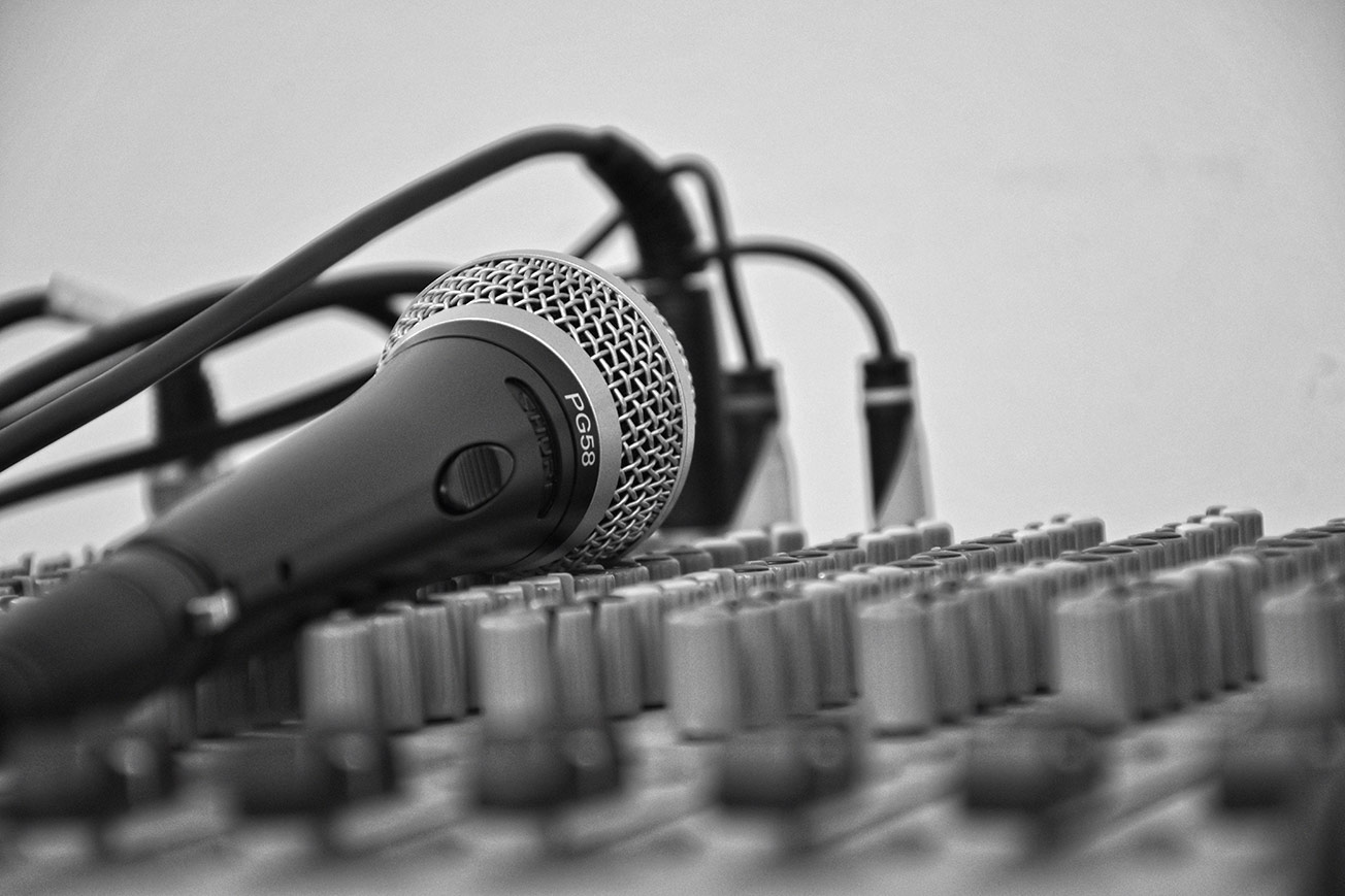 Microphone Mixing Board Black and White - Mix Vocals