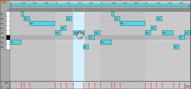 Moving Notes in Ableton Live MIDI Editor