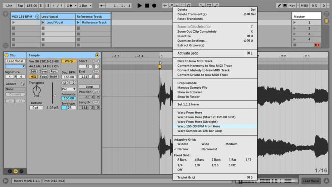 Ableton Live Warping Command